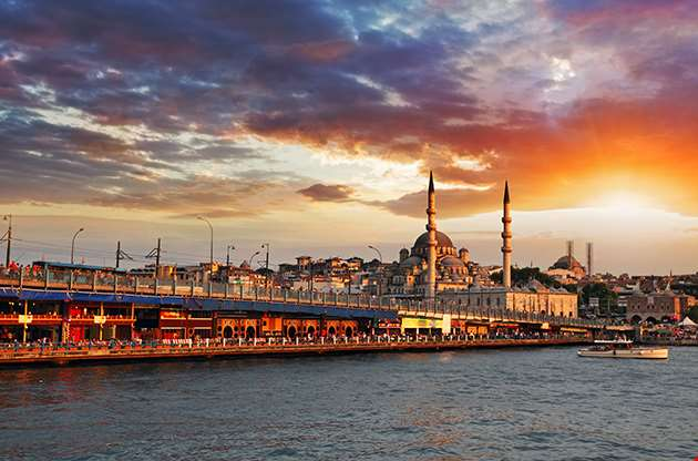 Istanbul At A Dramatic Sunset With Sun-Istanbul At A Dramatic Sunset With Sun