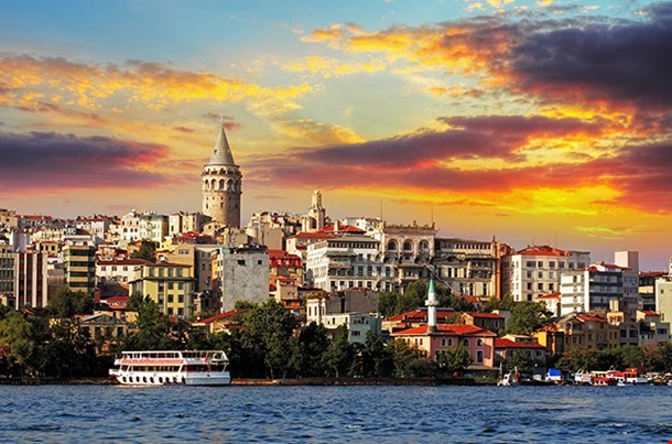 Istanbul at Sunset Galata District Turkey
