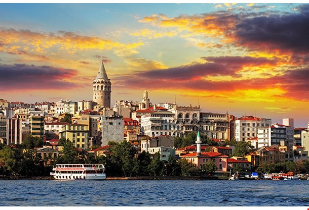Istanbul at Sunset Galata District Turkey