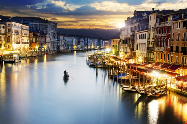 Grand Canale From Rialto Bridge At Blue Hour