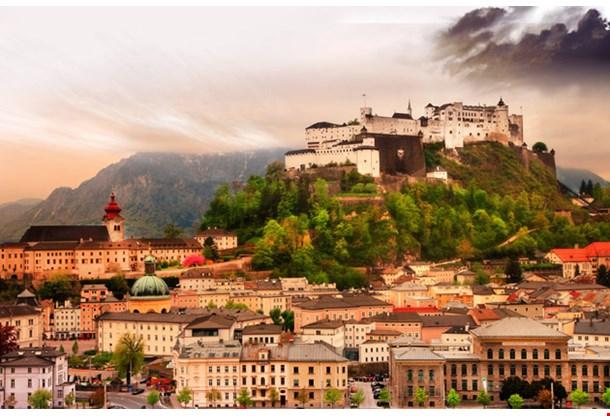 Dramatic Landscape Before a Sunset Over Salzburg