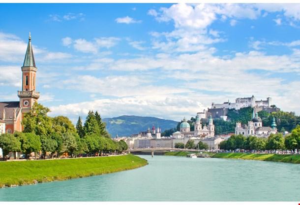 Panoramic View of Salzburg Skyline With Festung