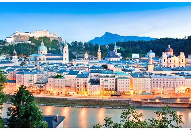 Panoramic View Salzburg Skyline with River Salzach
