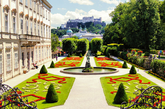 view-through-beautiful-gardens-to-historic-castle-View Through Beautiful Gardens to Historic Castle