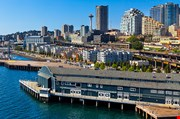 aerial-view-of-seattle-water-front-skyline-Aerial View Of Seattle Water Front Skyline