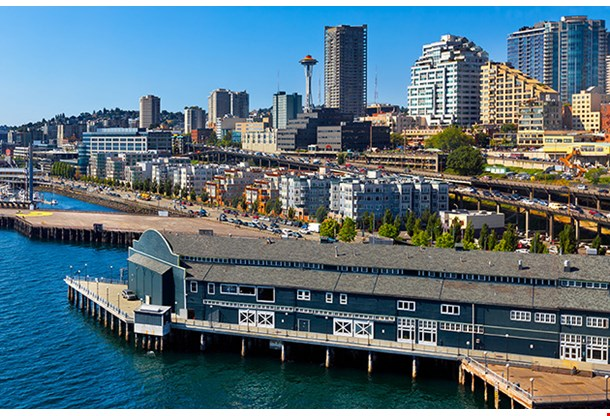 Aerial View Of Seattle Water Front Skyline