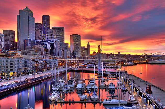 seattle-skyline-in-dramatic-sunrise-colors-Seattle Skyline In Dramatic Sunrise Colors