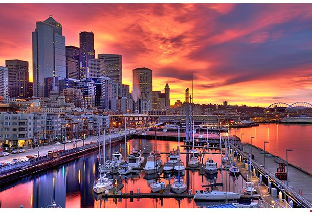 Seattle Skyline In Dramatic Sunrise Colors