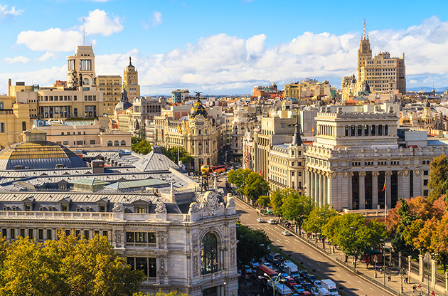 madrid-cityscape-and-aerial-view-of-gran-via-shopping-street-Madrid Cityscape And Aerial View Of Gran Via Shopping Street