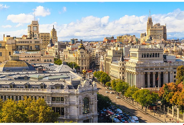 Madrid Cityscape And Aerial View Of Gran Via Shopping Street