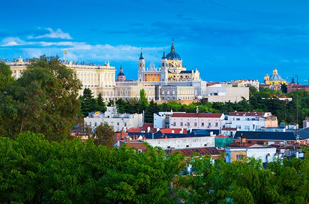 Madrid Skyline Royal Palace And Almudena Cathedral