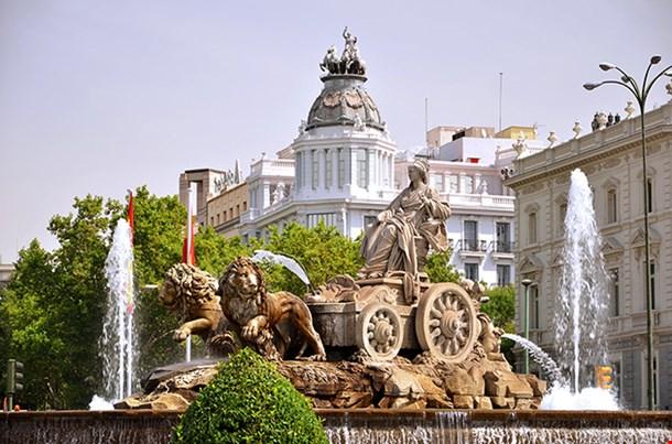 Majestic Cibeles Fountain On Plaza De Cibeles In Madrid Spain