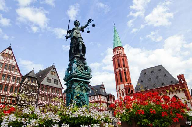 old-town-with-the-justitia-statue-frankfurt-Old Town With the Justitia Statue Frankfurt