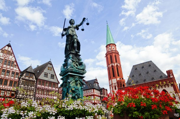Old Town With the Justitia Statue Frankfurt