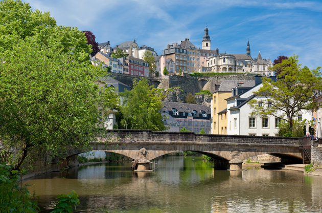 a-bridge-over-the-alzette-river-in-the-grund-luxembourg-A Bridge Over The Alzette River In The Grund Luxembourg