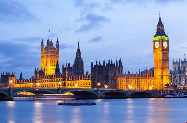 Cityscape Of Big Ben And Westminster Bridge With River Thames