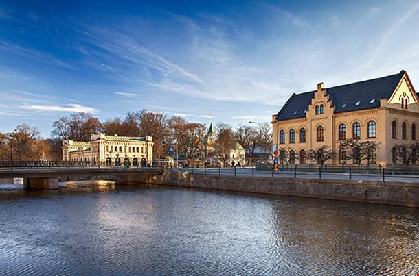 River In The Center Of Uppsala Sweden