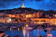 Marseille France Panorama At Night-Marseille France Panorama At Night
