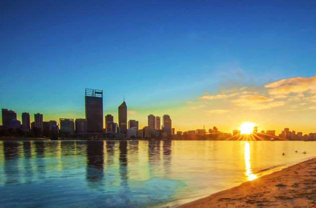 Sunrise View Of Perth Skyline From Swan River-Sunrise View Of Perth Skyline From Swan River