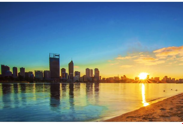 Sunrise View Of Perth Skyline From Swan River