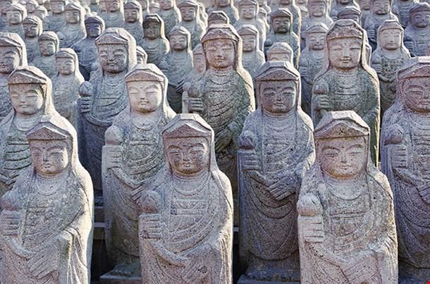 Arahan Statues At Gwaneumsa Buddhist Temple At Jeju
