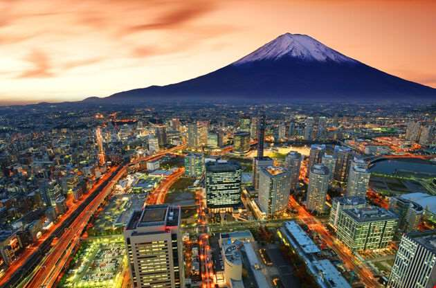 View Of Yokohama And Mt Fuji In Japan-View Of Yokohama And Mt Fuji In Japan