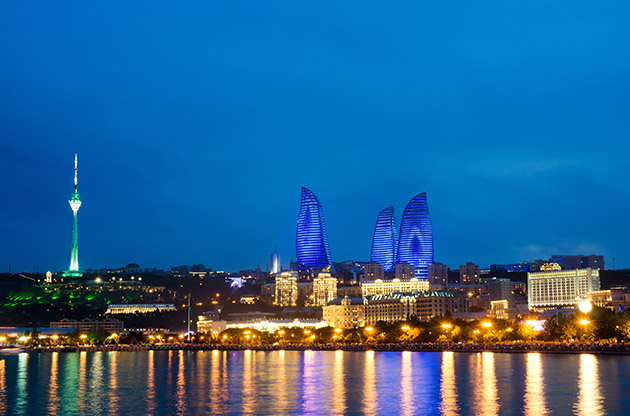 Baku Azerbaijan At Caspian Sea Night Photo-Baku Azerbaijan At Caspian Sea Night Photo