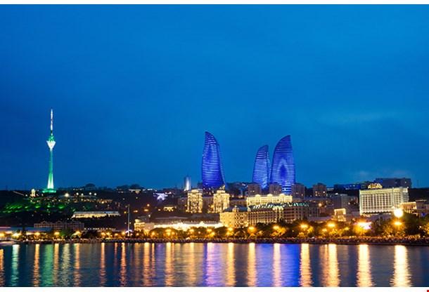 Baku Azerbaijan At Caspian Sea Night Photo