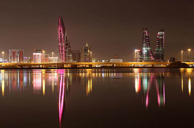 Skyline Of Manama At Night Bahrain-Skyline Of Manama At Night Bahrain