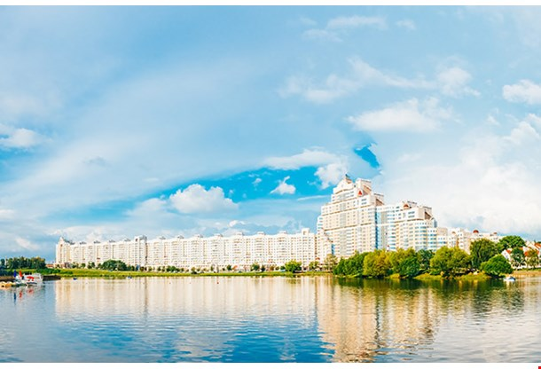 Building In Old Part Minsk Downtown Nemiga View With Svisloch River Belarus