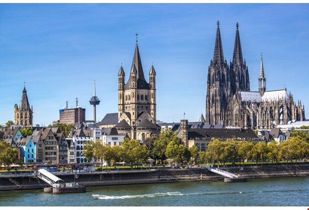 Cologne Germany Aerial View Over The Rhine River
