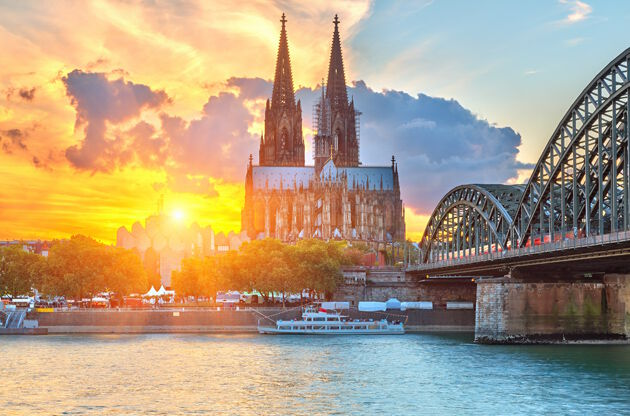 View On Cologne At Sunset-View On Cologne At Sunset