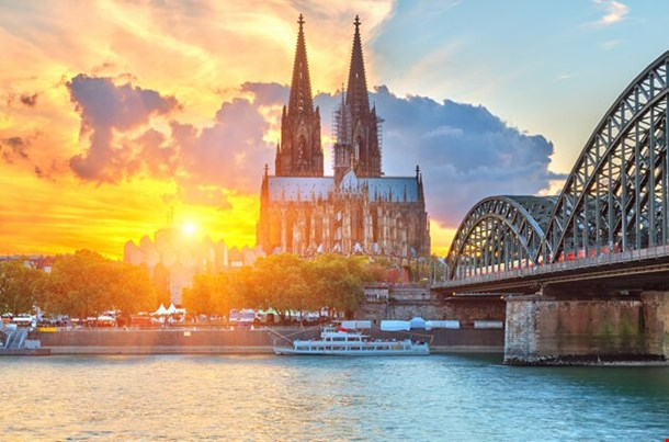 View On Cologne At Sunset