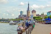 Duesseldorf Panorama With River Rhein Germany-Duesseldorf Panorama With River Rhein Germany