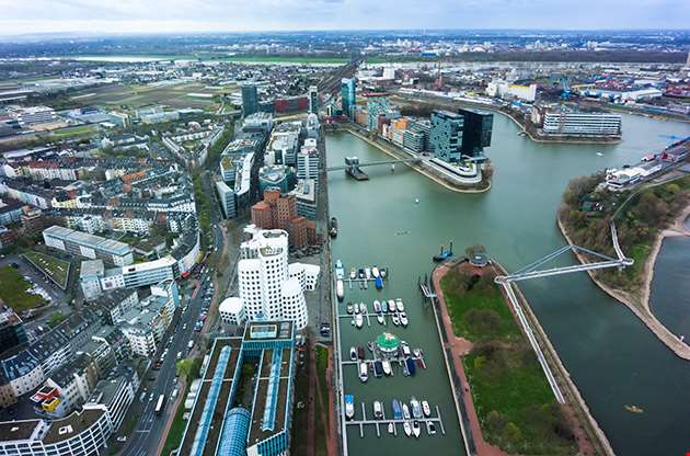 Wide Angle Picture Of River Rhine Duesseldorf-Wide Angle Picture Of River Rhine Duesseldorf
