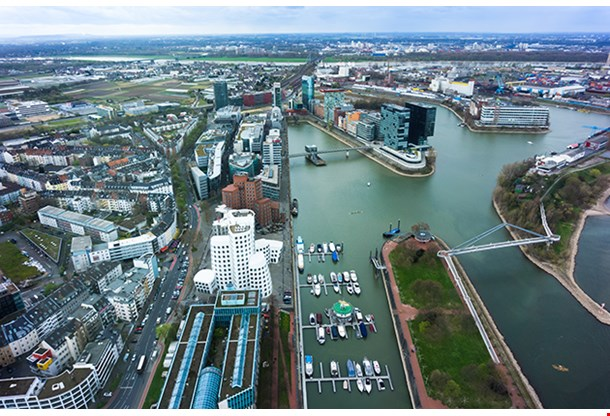 Wide Angle Picture Of River Rhine Duesseldorf