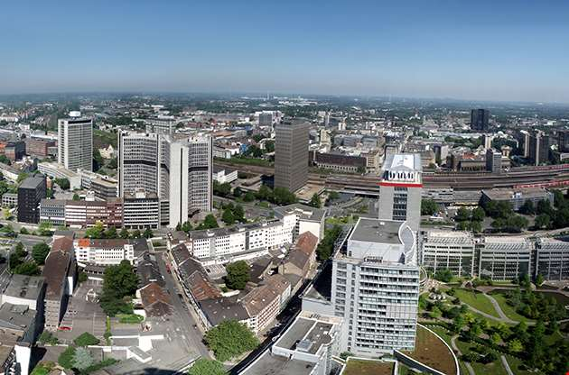 Panorama Of The City Center Of Essen In Germany-Panorama Ofthe City Center Of Essen In Germany