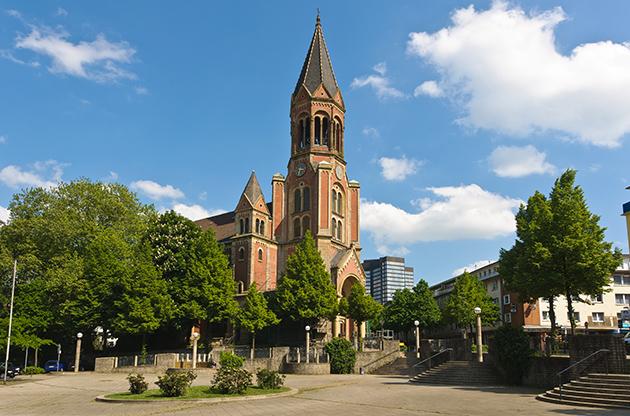 Side View Of Kreuzeskirche In Essen Germany-Side View Of Kreuzeskirche In Essen Germany