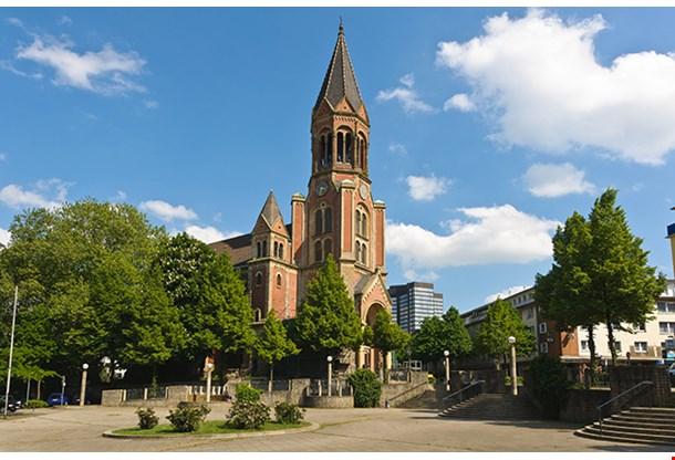 Side View Of Kreuzeskirche In Essen Germany