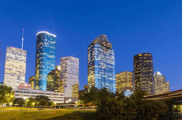 View On Downtown Houston In Late Afternoon-View On Downtown Houston In Late Afternoon