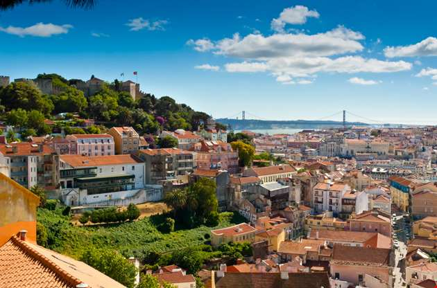 baixa-and-castelo-de-sao-jorge-from-alfama-lisbon-Baixa And Castelo De Sao Jorge From Alfama Lisbon