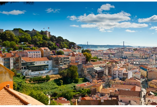 Baixa And Castelo De Sao Jorge From Alfama Lisbon