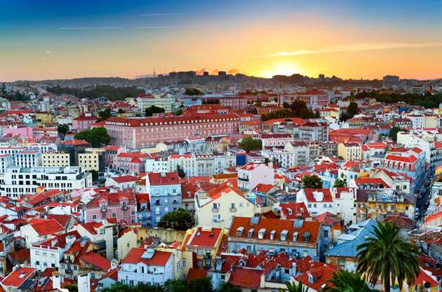 sunset-over-downtown-lisbon-Sunset Over Downtown Lisbon