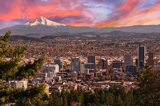 Sunrise View Of Portland Oregon-Sunrise View Of Portland Oregon