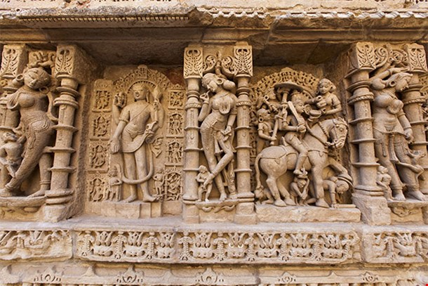 Statues At The Rani Ki Vav Step Well In Patan Gujarat India
