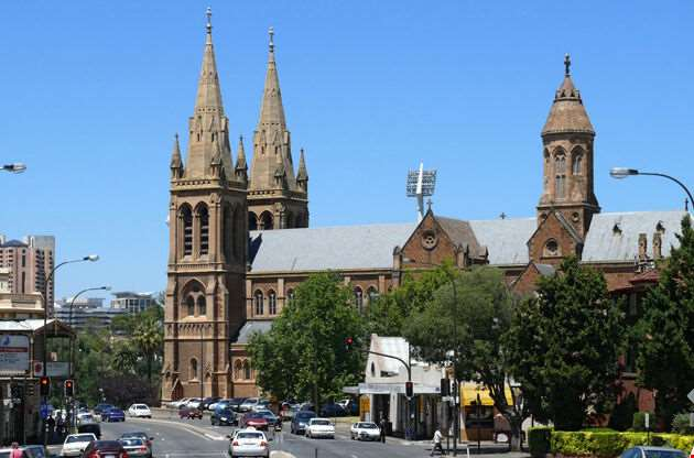 Cathedral In Center Of Adelaide City-Cathedral In Center Of Adelaide City