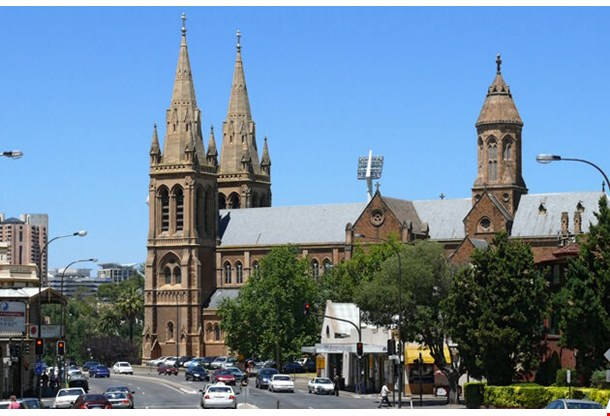 Cathedral In Center Of Adelaide City