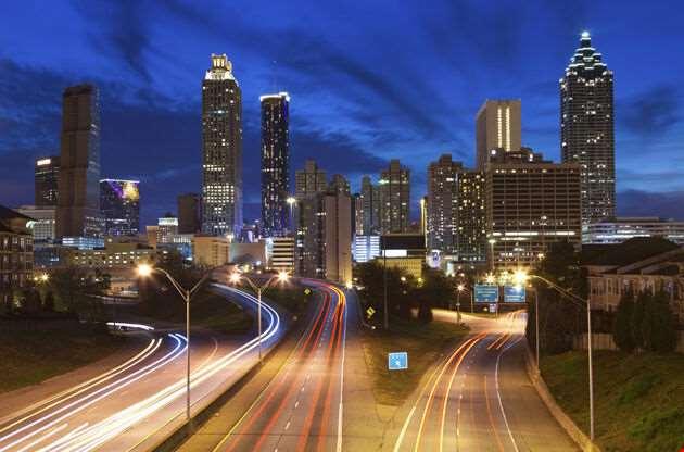 Image Of The Atlanta Skyline During Twilight Blue Hour-Image Of The Atlanta Skyline During Twilight Blue Hour