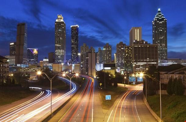 Image Of The Atlanta Skyline During Twilight Blue Hour