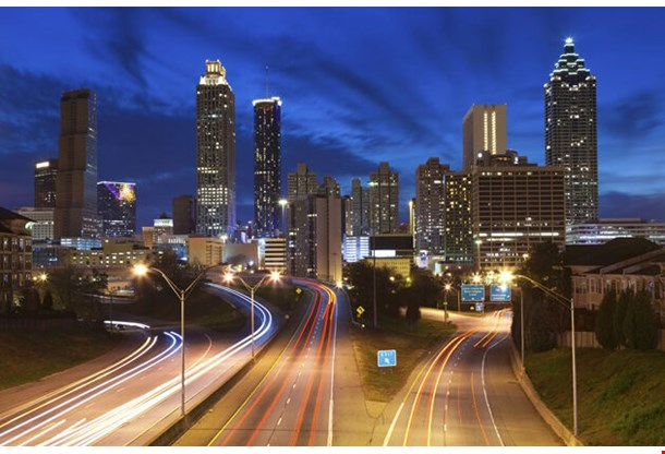 Image Of The Atlanta Skyline During Twilight Blue Hour